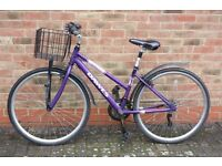 "Dawes Ladies 18"" hybrid bike 3X7 speed gears including basket and mudguards"
