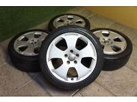 """Genuine Audi A3 8P 17"""" Alloy wheels & Tyres 5x112 A4 VW Passat Golf T4 Caddy S Line"""