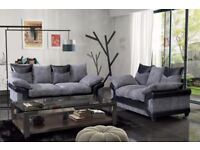 *** CHEAPEST PRICE *** NEW DINO JUMBO CORD CORNER OR 3 AND 2 SEATER SOFA--BLACK/GREY OR BROWN/MINK--