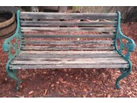 Vintage Cast Iron and Teak Lions Head Garden Bench
