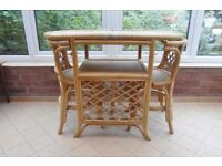 Conservatory set, table and chairs.