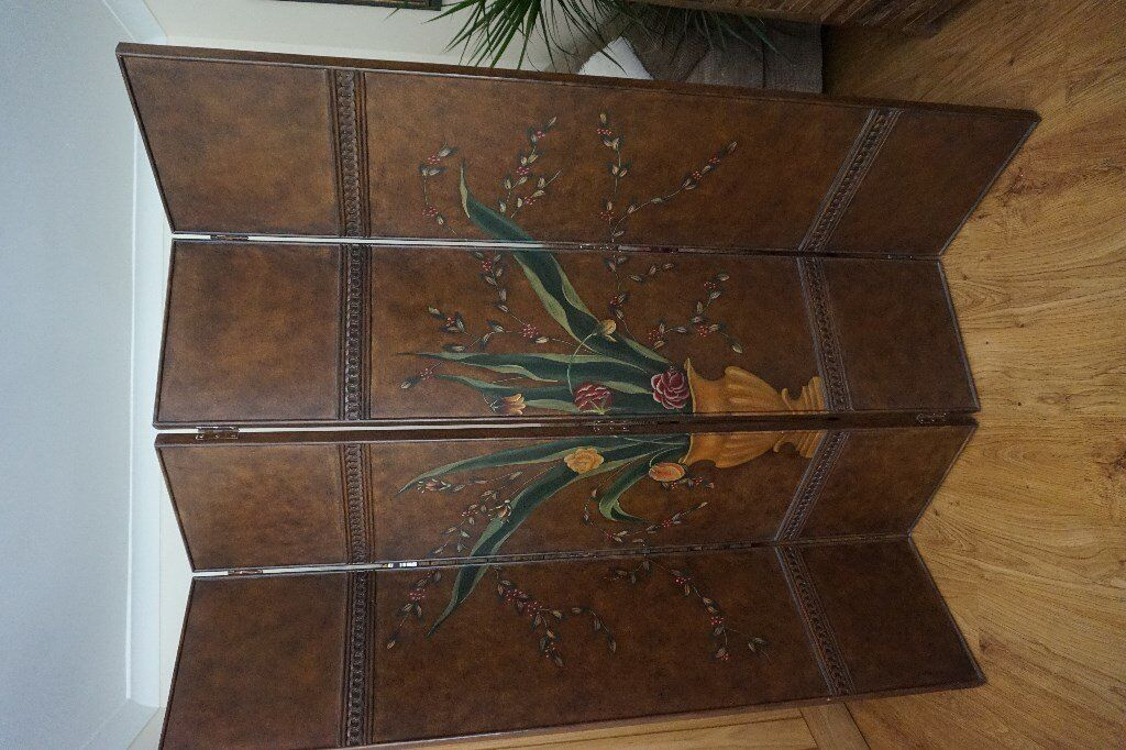 Vintage Hand Painted Wood Dressing Screen/Room Divider