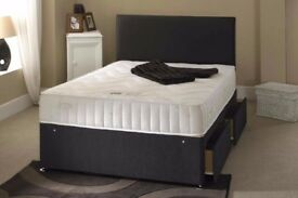 STOCK CLEARANCE SALE! BRAND NEW DOUBLE AND KING DIVAN BED BASE AND FULL FOAM MATTRESS