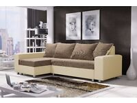 Corner sofa bed sofa bed UK STOCK 1-5 DAY DELIVERY (Brown- White)