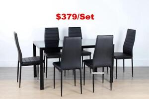 CANNES 7 PC DINING SET *BLACK & WHITE