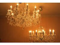 Pair Of ABSOLUTELY STUNNING 3 FOOT Wide Crystal Chandeliers