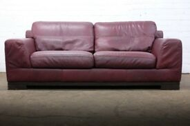 SUPERB ITALIAN LEATHER NATUZZI MAROON THREE SEATER SOFA - CHEAP UK DELIVERY