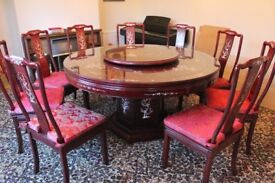 Rosewood Dining Table, 10 Chairs, and Cabinet for sale