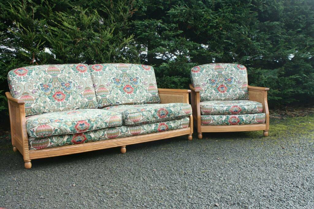 Ercol Bergere Sofa Chair Amp Footstool Blonde Golden Dawn