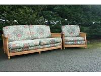Ercol Bergere sofa, chair & footstool. Blonde/ Golden Dawn. Conservatory Option