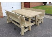 NEW HANDMADE FURNITURE BUILT TO ORDER WOODEN 1.8m GARDEN/PATIO TABLE AND BENCH SET