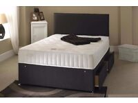 """**CHEAPEST PRICE GUARANTEED**BRAND NEW Double Divan Bed With 9"""" Dual-Sided Semi Orthopaedic Mattress"""