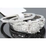 10K WHITE GOLD 1 CARAT WOMENS REAL DIAMOND ENGAGEMENT RING WEDDING BAND SET