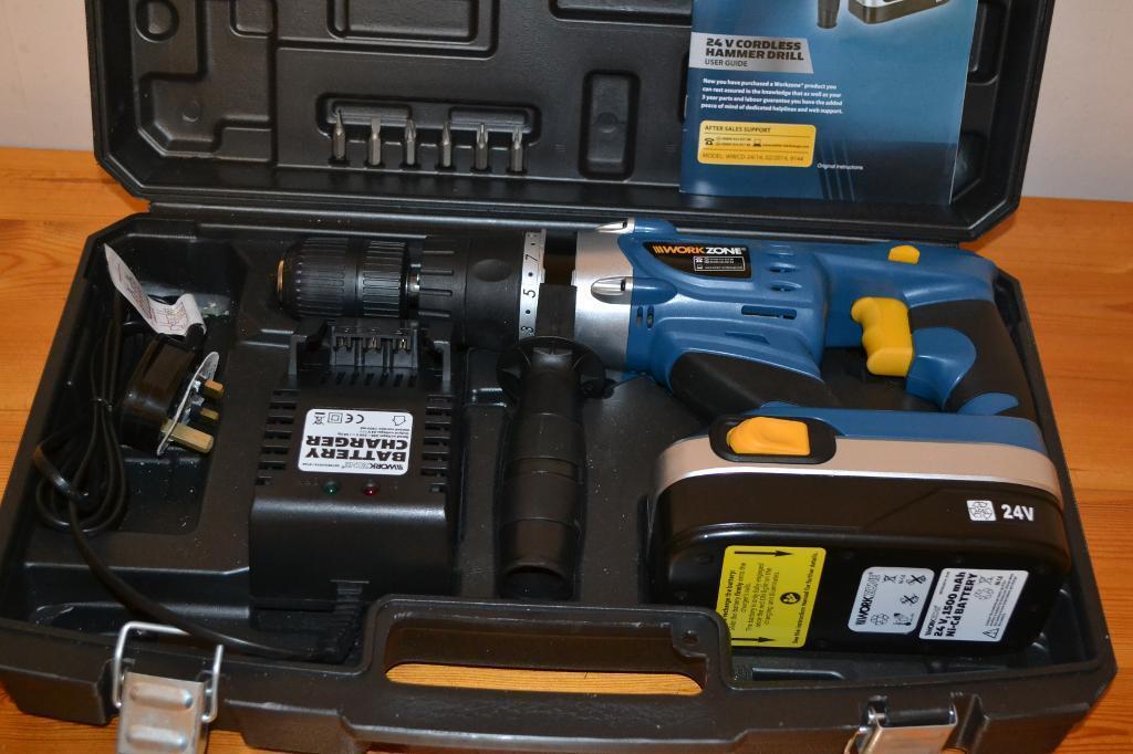 Workzone 24 Volt Cordless Hammer Drill Unused In