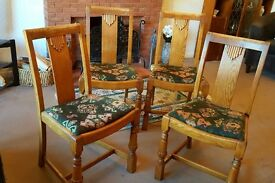 4 Period oak dining chairs