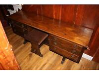 Antique Solid Wooden Double Sided Dressing Table With Stool
