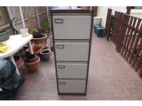 """4 drawer hanging file metal filing cabinet by """"Roneo"""""""