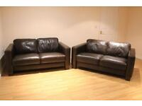 2 x As New Dark Brown Genuine Leather Two Seater Sofas-used for only a handful of days over 2 months