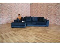 BRAND NEW DFS 'Plush' Large Deep Navy Plush Velvet Corner Chaise Sofa