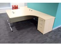 R/H Curved EFG-maple corner desks with desk high pedestal Used Office Furniture - Can Deliver
