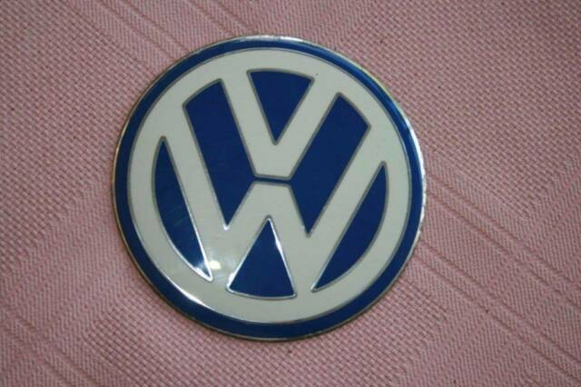 Vw White On Blue Convex Disc Body Insignia Emblem Other