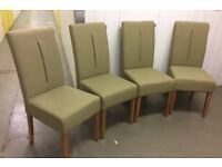 Solid Oak & Olive Fabric Dining Chairs, New & Unused