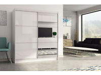 2 Door Sliding mirror wardrob with High Gloss Black/White Finish- Brand New