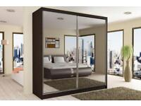 TWO door Sliding Mirror High Quality MDF made Wardrobe 120cm/150/cm/180cm/203cm wide in stick