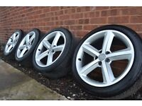 "AUDI A5 GENUINE 18"" S-LINE RONAL ALLOYS - GOOD TYRES - GREAT CONDITION - 245/40/18 A4 A5 A6 A3"