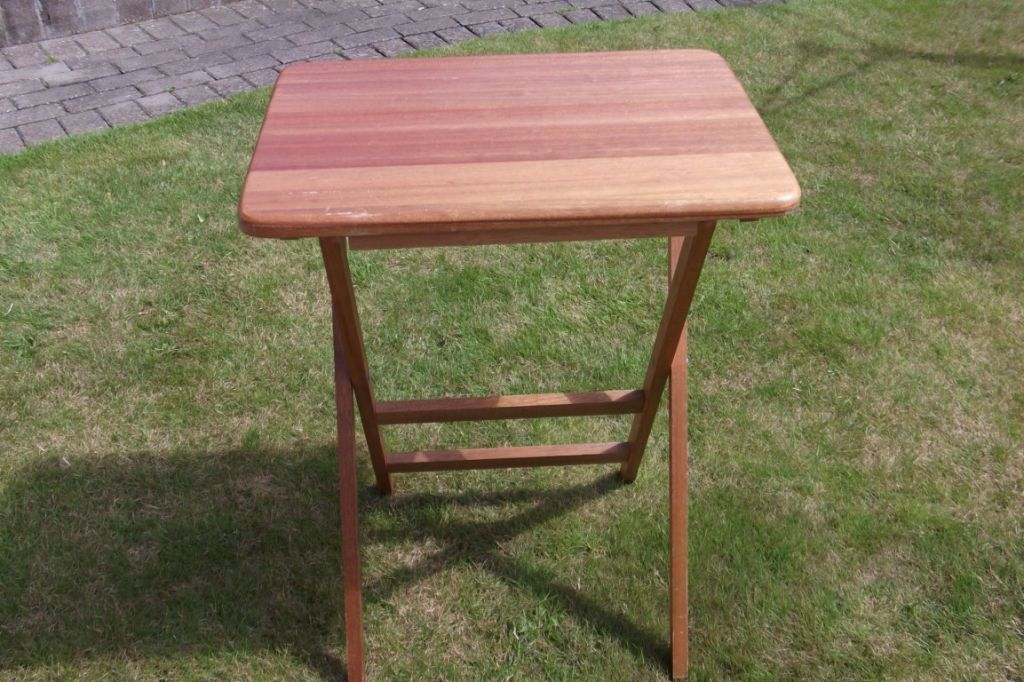 Small Teak Stained Folding Garden Picnic Camping Table