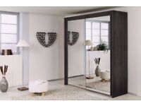 🛑🛑CHEAPEST PRICE 🛑🛑 BRAND NEW BERLIN 2 DOOR SLIDING WARDROBE WITH FULL MIRROR-EXPRESS DELIVERY