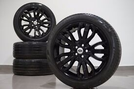 """Genuine Range Rover Dynamic 21"""" Inch Alloy Wheels &Tyres Sport Discovery BLACK Autobiography HSE SVR"""