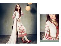 Designer silky heavy georgette straight suits in wholesale