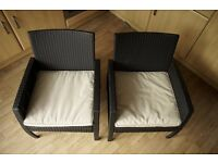 Rattan Effect 4 Seater Garden Patio Furniture (2 armchairs and 1 small sofa)