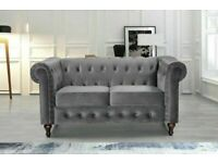 💖🔴AMAZING OFFER🔵💖plush velvet chesterfield sofa 3 and 2 seater in grey color only-flat packed-