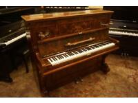Waldemar antique German upright in burr walnut. Tuned and uk delivery available