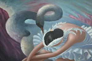 "40""X20"" LARGE OIL ON CANVAS PAINTING -SWAN LAKE- Gatineau Ottawa / Gatineau Area image 2"