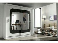 Brand New Chelsea 2 Door Mirror Sliding Wardrobe - Bedroom Furniture - WHTE BLK OAK WALNUT