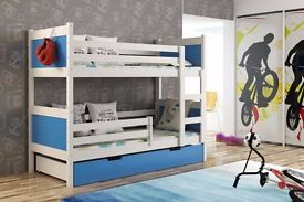 New KIDS CHILDREN TODDLER ~JUNIOR BUNK BED WITH MATTRESS AND DRAWERS 190 x 85