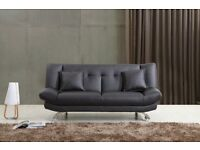 NEW LEATHER SOFA BED ONLY £175, RRP £350, 2 FREE CUSHIONS