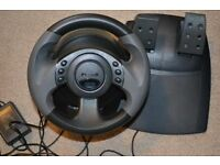Microsoft Sidewinder Force feedback gaming wheel and pedals