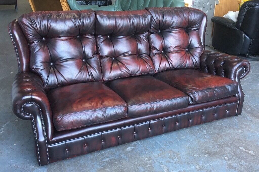 Ox Blood Red leather Chesterfield sofa WE DELIVER UK WIDE