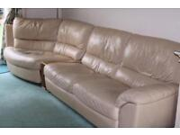 Natuzzi Beige Leather Corner Sofa