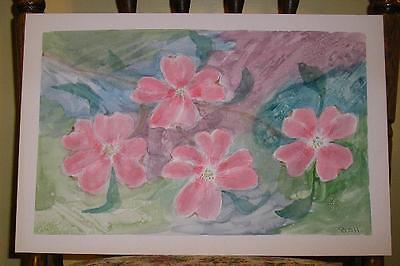 FOLK ART VINTAGE SOFT PINK FLOWERS BOTANICAL NATURE PLEIN AIR ABSTRACT PAINTING