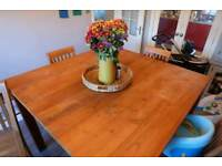 Wooden Dining Table Bar 4 Chairs Stools Large Square Rustic Add Still Up