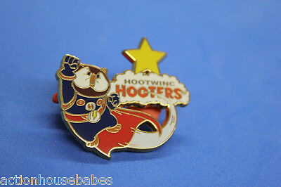 HOOTERS RESTAURANT STAFF HOOTWING PIN - HOOTIE FLYING WITH CAPE