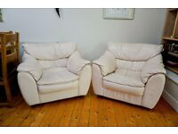 Pair of Beige Leather Armchairs