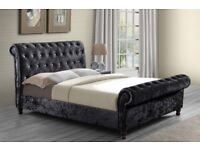 😮 Brand New Double/King DESIGNER😮Crushed Velvet ASTRAL Sleigh DESIGNER BED IN 3 COLORS AVAILABLE😮