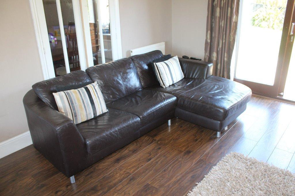 Dfs brown 4 seater sofa 2 chairs buy sale and trade ads Dfs 4 seater leather sofa