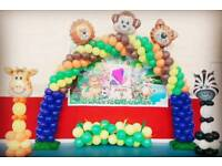 hall decoration/balloon/cake/birthday/party/venue/food